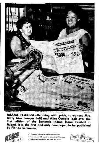Betty Mae Alice Osceola Printing Press